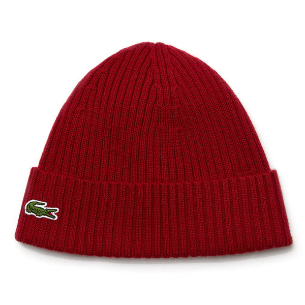 Dark Red Knitted Cap // Burgundy Bonnets Lacoste