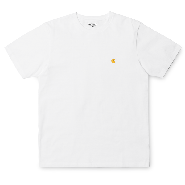 White Smoke SS Chase T-Shirt // White/Gold T-shirts Carhartt WIP