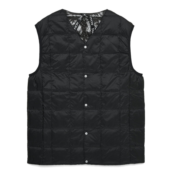 Dark Slate Gray V Neck Button Down Vest // Black Vestes Taion
