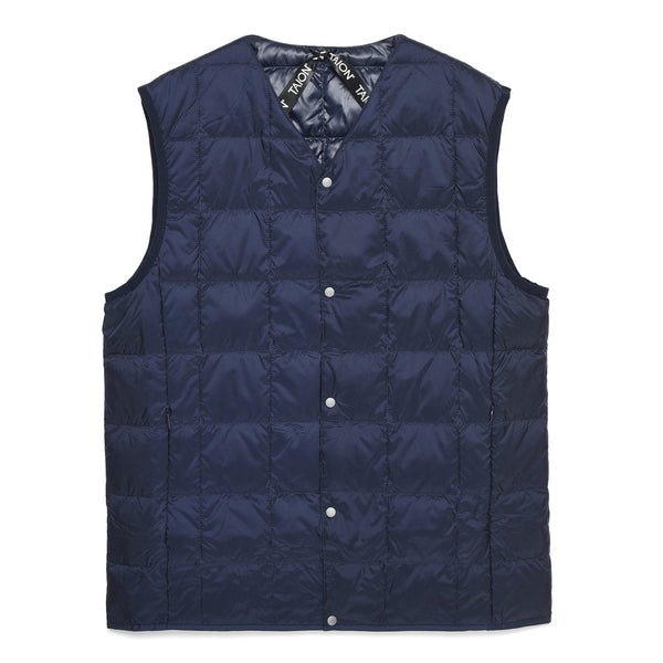 Dark Slate Gray V Neck Button Down Vest // Navy Vestes Taion