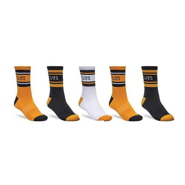 Goldenrod Bengal Crew Sock // 5 Pack // 7-11 // Gold Chaussettes Globe