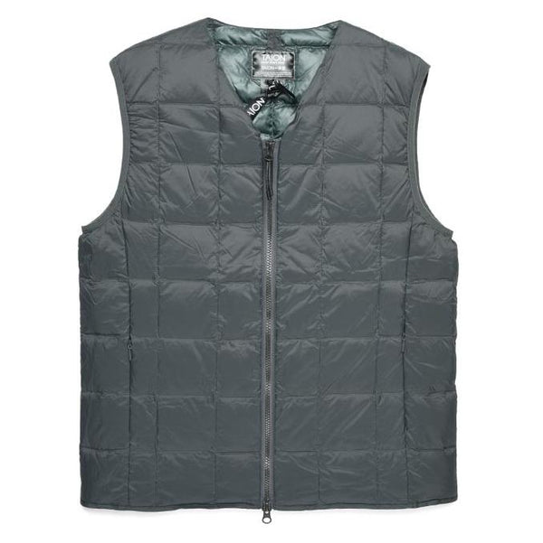 Dim Gray V Neck W-Zip Down Vest // Charcoal Vestes Taion