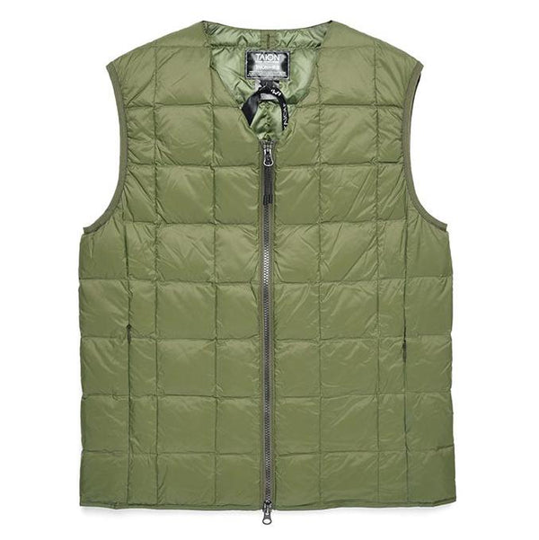 Dim Gray V Neck W-Zip Down Vest // Olive Vestes Taion