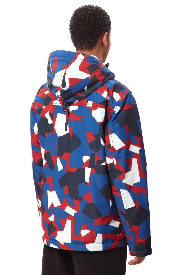 Dark Slate Blue Rainforest Pocket Print // Red Camo Vestes Napapijri