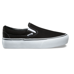 Light Gray Classic Slip-On Platform // Black Sneakers Vans