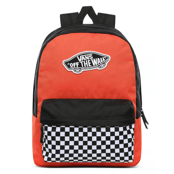 Orange Red Realm Backpack // Paprika/Checker Sacs Vans