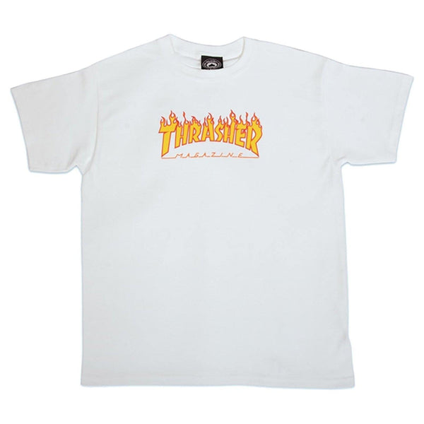 T-shirts - Thrasher - Flame SS Tee YOUTH // White - Stoemp