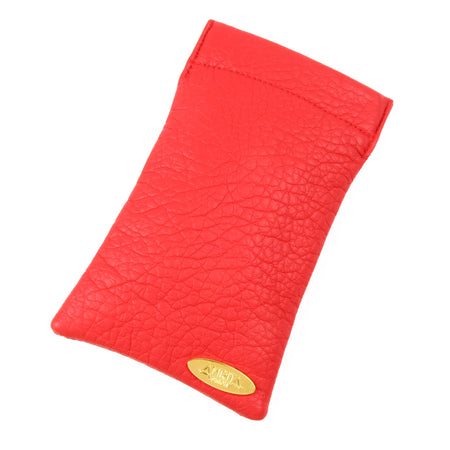 Red faux-leather eyewear case