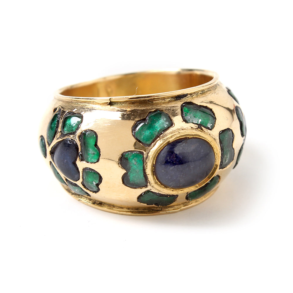 Gold Blue Sapphire and Emerald Ring