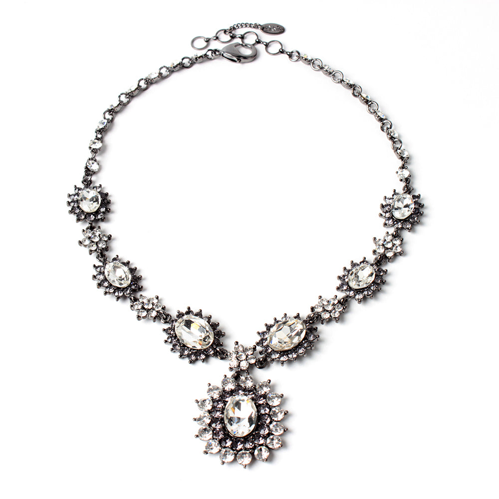 Clear/Gunmetal Necklace