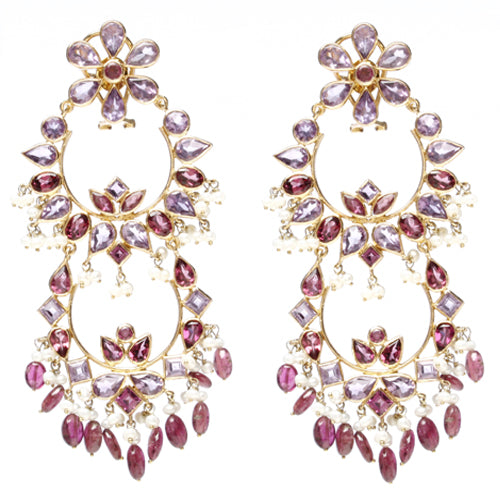 14k yellow gold chandelier earrings with amethysts, and tourmaline.