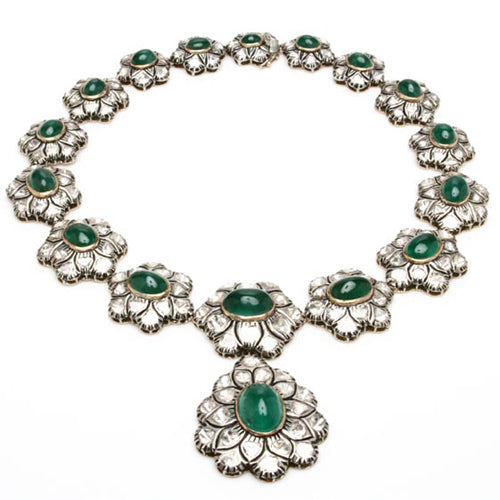 18k gold rose cut diamond and large cabochon emerald necklace