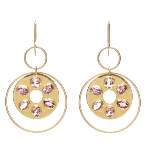 14k gold circular earring with pink tourmaline.
