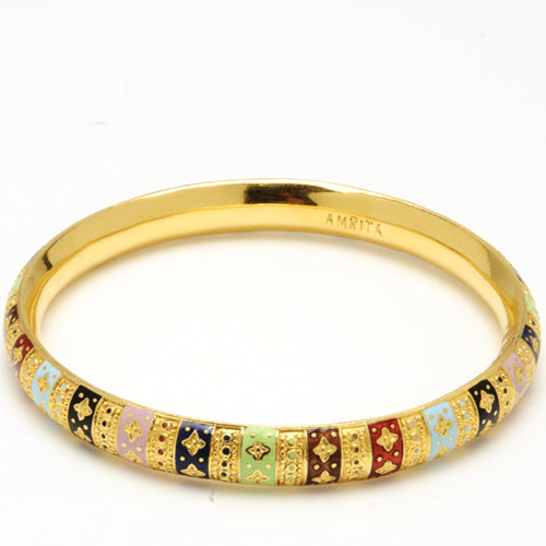 22k gold bangle with colored enamel designs and embellishments