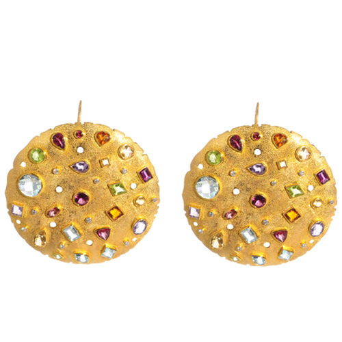 14k gold earring with diamonds, amethyst, blue topaz, citrine, peridot, and tourmaline
