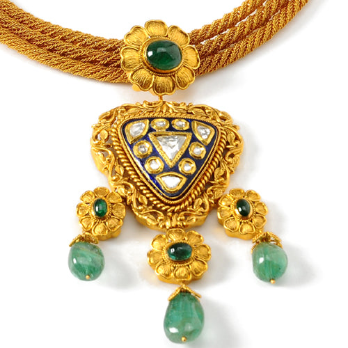 22k Gold Uncut Diamond and Emerald Necklace