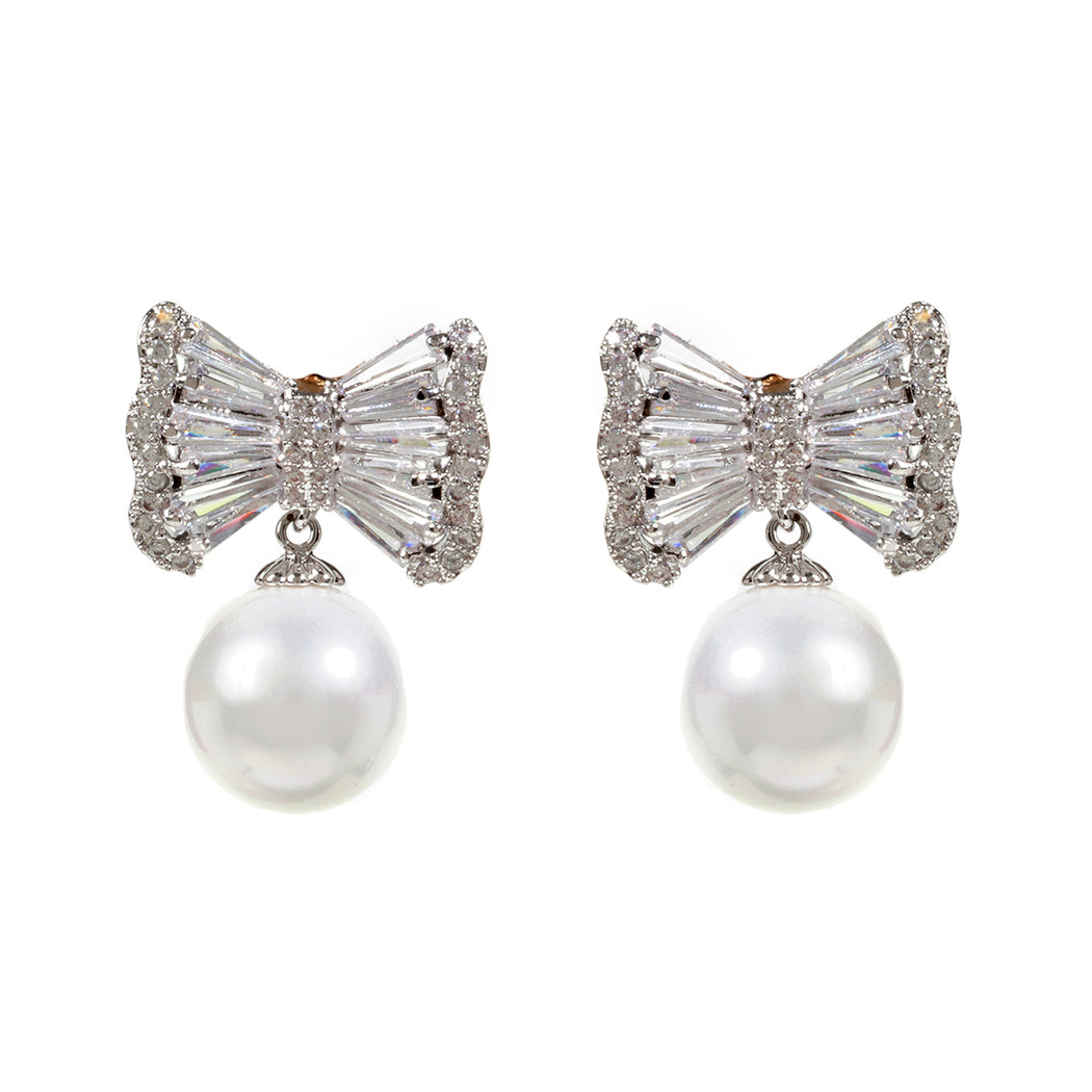 CZ Bow Drop Earring