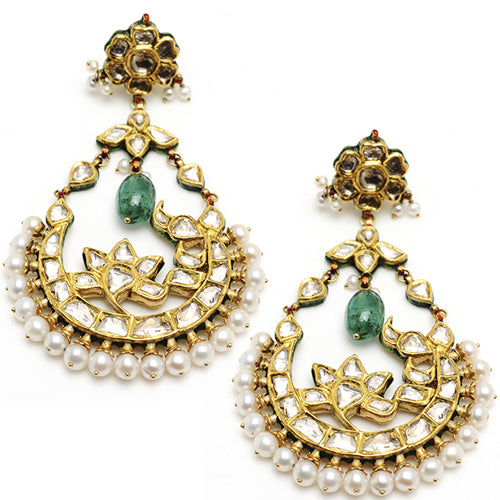 22k Gold, Diamond, Emerald drop and fresh water pearl earring