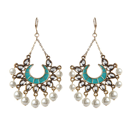 Turquoise/Natural Pearl  Earring