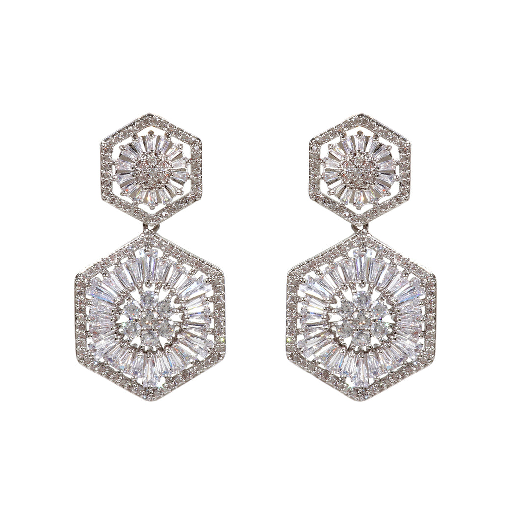 Hexagon CZ Drop Earring