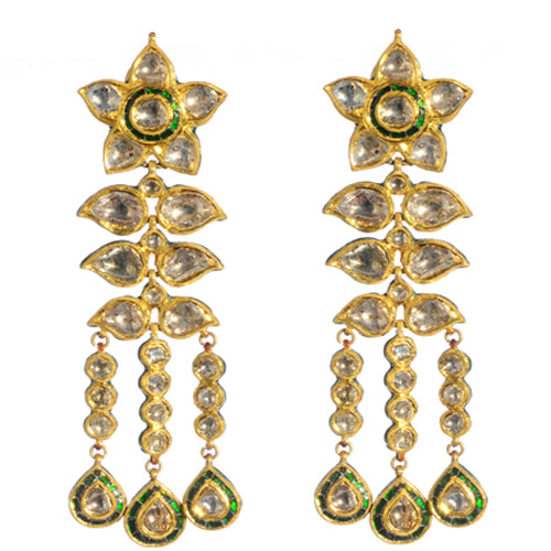 22k gold post earring with uncut diamonds and enamel detail on back