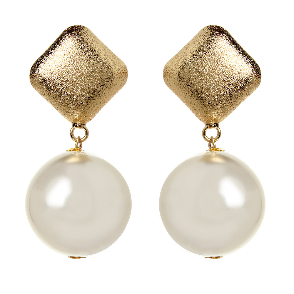 Frosted Gold/ Pearl Ball earrings