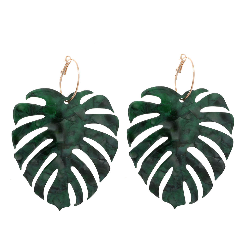 Palm Leaf Hoop Earring