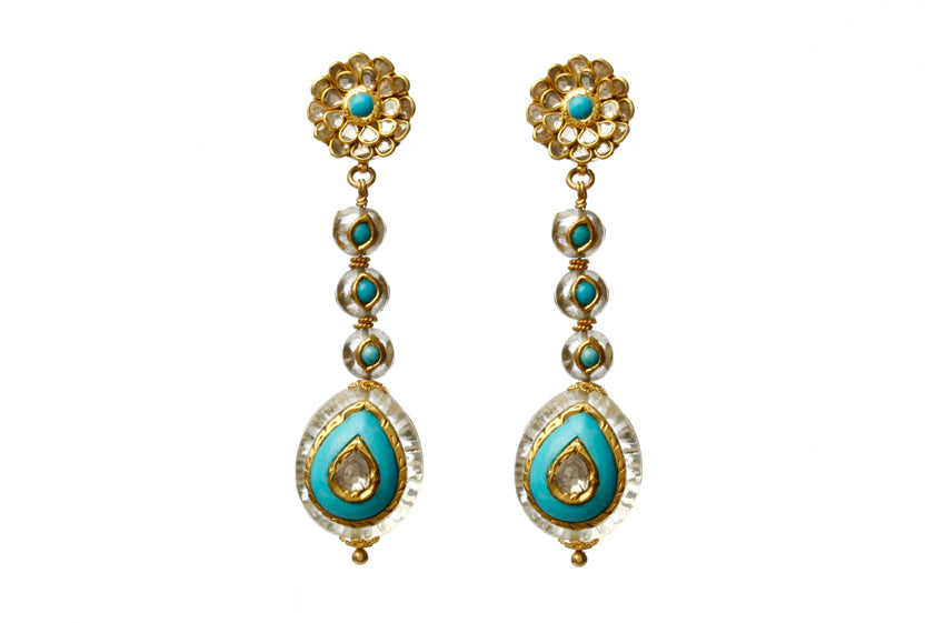 22k Gold  long earring with Uncut Diamond