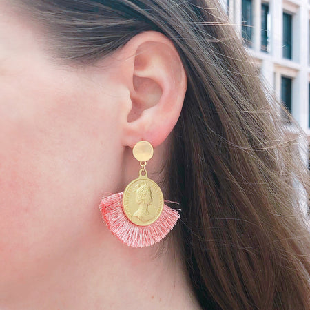 Coin Drop with Fringe Earring