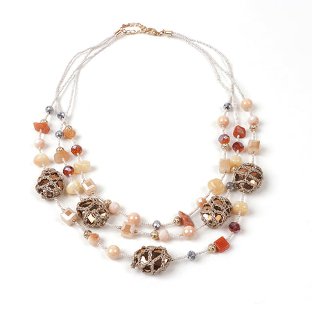 Phoebe Bead and Stone Necklace