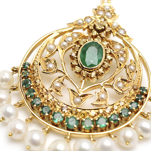 14k gold, uncut diamonds and emeralds with fresh water pearl drops earring