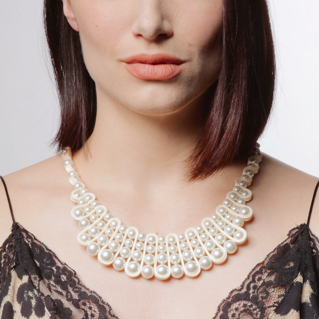 Elsa Pearl Bib Necklace