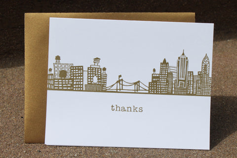Brooklyn Bridge Skyline Thank You (gold)