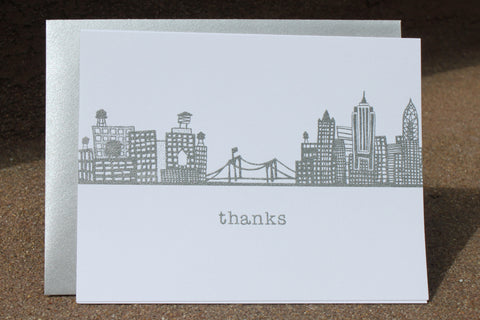 Brooklyn Bridge Skyline Thank You (silver)