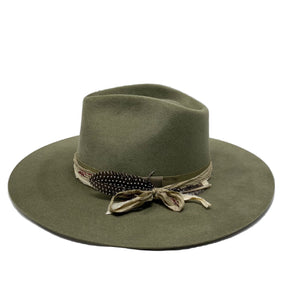 VERONA FEDORA IN PALE OLIVE WITH VINTAGE SILK