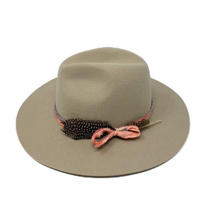 BROOKLYN FEDORA IN BUCKSIN  w/ vintage hand dyed silk