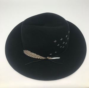 BROOKLYN FEDORA BLACK w/ EMBROIDERY