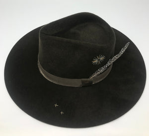VERONA FEDORA in OLIVE WITH EMBROIDERY