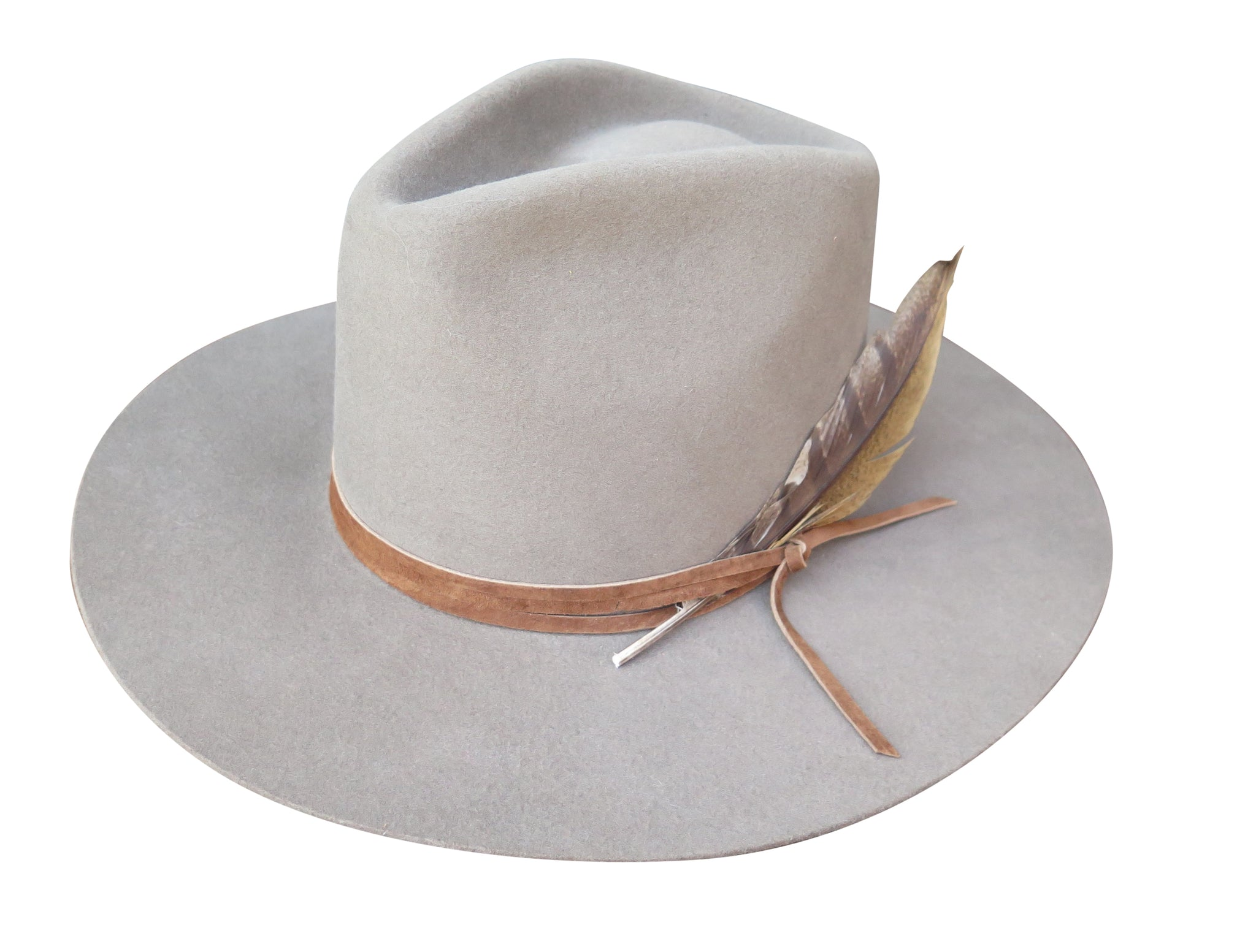 0ceb53600e576 LATIGO FEDORA in morning fog with wrapped suede and feather - Lovely Bird