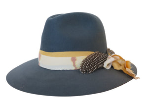 BROOKLYN FELT FEDORA CHAMBRAY w/ silk wrap