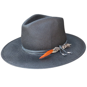 Zuma Straw Fedora in black w/ aspen wrap by Lovely Bird