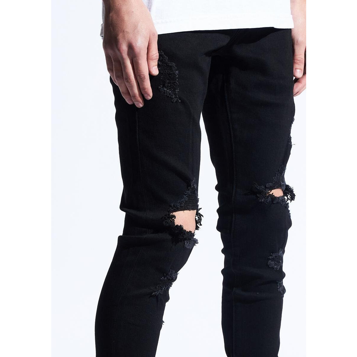 Karter Collection Kevs Black Jeans w/Tears (KARPK-101)