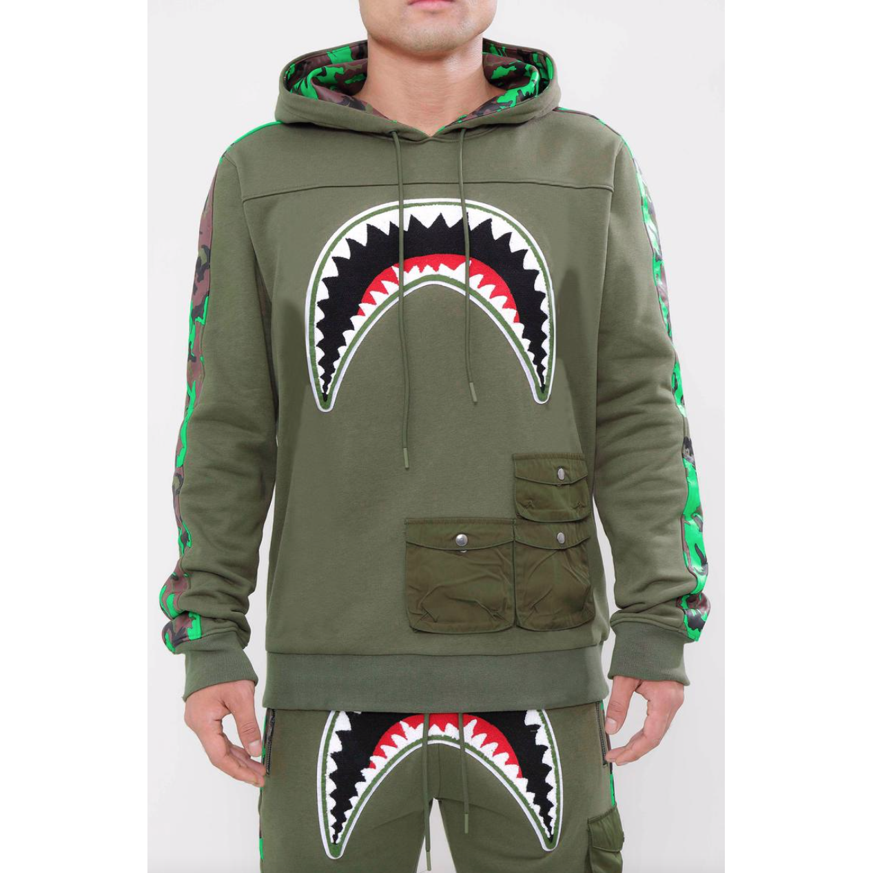 Hudson Utility Sharks Mouth Hoodie Olive Green (H5052929)