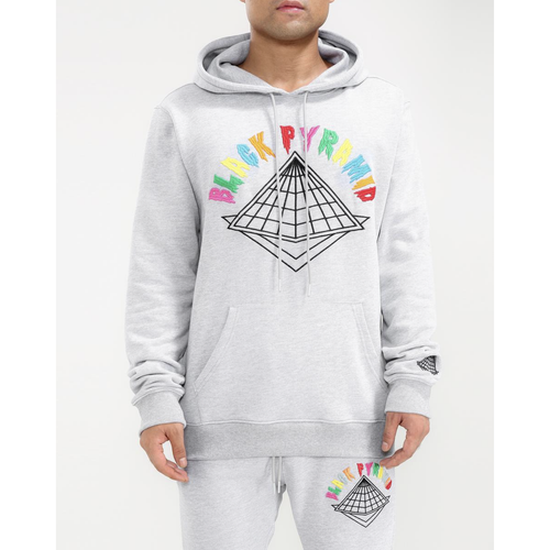 Black Pyramid Colors Drip Logo Heather Grey Hoodie