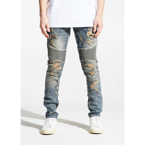 Embellish Hughes Blue  Stone Wash Biker Denim
