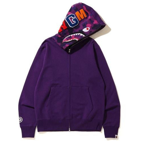 BAPE Shark Full Zip Hoodie - Purple/Purple