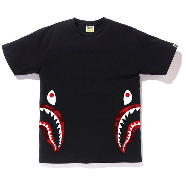 BAPE Color Camo Side Shark Tee - Black/Red
