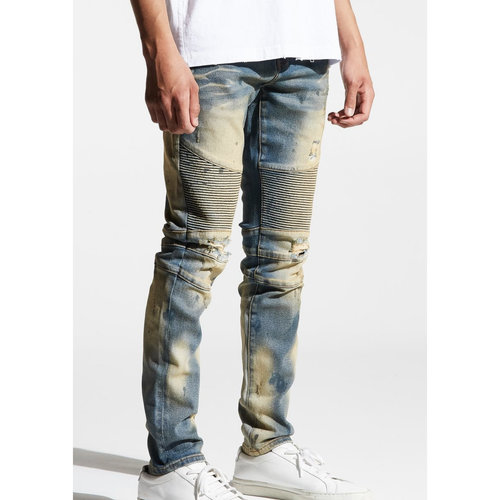 Embellish Vintage Dirty Wash Barrett Biker Denim Jeans