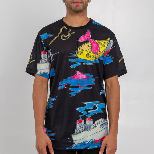 Pink Dolphin Sailing Boat Tee