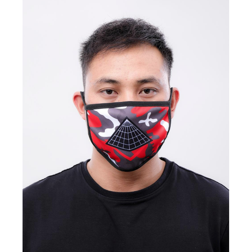 Black Pyramid- Pyramid Logo Face Mask Red Camo